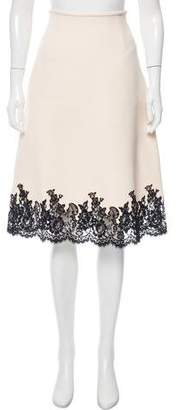 Celine Lace-Trimmed Knee-Length Skirt