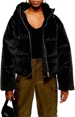 Topshop Velvet Puffer Jacket