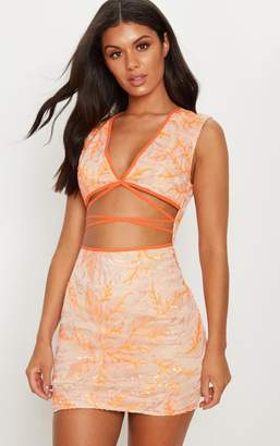 PrettyLittleThing Orange Sequin Strappy Cut Out Bodycon Dress