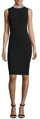 Milly Sleeveless Rhinestone-Collar Cocktail Sheath Dress