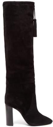 Saint Laurent Meurice Tassel Tie Suede Boots - Womens - Black