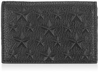 Jimmy Choo BELSIZE Black Grainy Leather Cardholder with Stars
