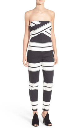 Kendall & Kylie Stripe Strapless Jumpsuit $198 thestylecure.com
