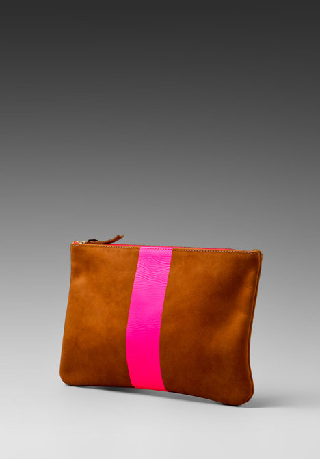 Clare Vivier Flat Clutch with Neon Stripe