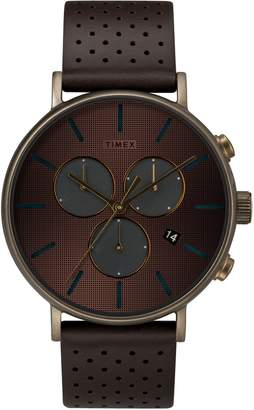 Timex R) Fairfield Chronograph Leather Strap Watch, 41mm
