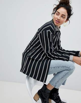 Monki Tailored Popper Detail Stripe Blazer