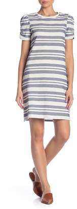 Vince Camuto Puff Shoulder Variegated Stripe Shift Dress