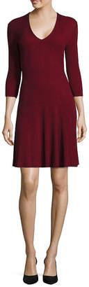 WORTHINGTON Worthington 3/4-Sleeve Fit-and-Flare Sweater Dress