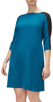 Adrianna Papell Crew Neck Crepe Shift Dress, Winter Lagoon