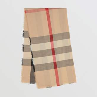 Burberry Fringed Check Cashmere Scarf, Brown