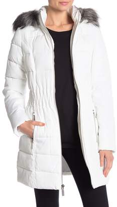 Laundry by Shelli Segal Windbreaker Faux Fur Trim Puffer