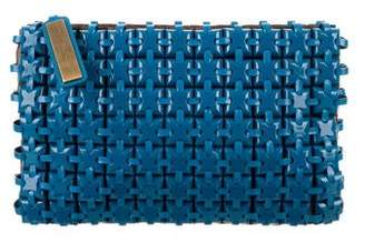 Roger Vivier Leather-Accented Embellished Clutch