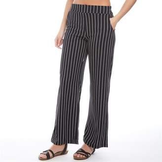 Brave Soul Womens Paul Striped Wide Leg Trousers Black White Stripe