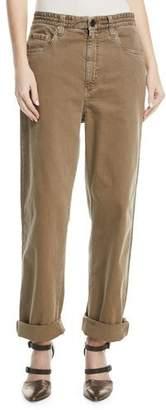 Brunello Cucinelli Garment-Dye Denim Pants with Monili 4-Track Side Detail