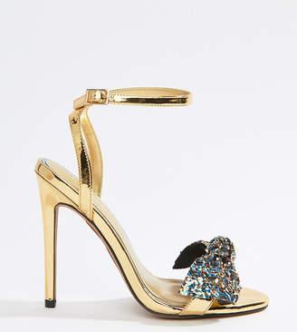 Asos DESIGN Wide Fit Whirl embellished heeled sandals