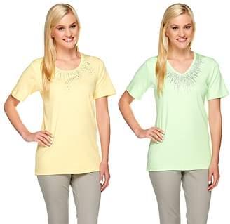 Factory Quacker Set of Two Rhinestone Short Sleeve T-shirts