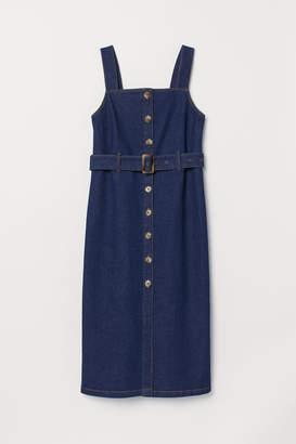 H&M Calf-length Denim Dress - Blue