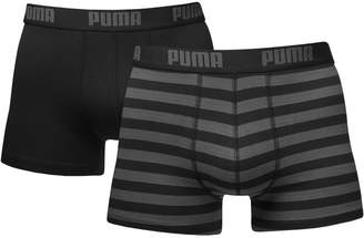 Puma Men's 2 Pair Plain and Striped Cotton Boxer Shorts L