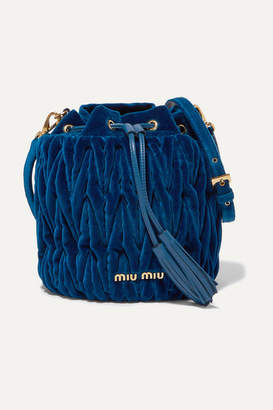 Miu Miu Leather-trimmed Matelassé Velvet Bucket Bag - Cobalt blue