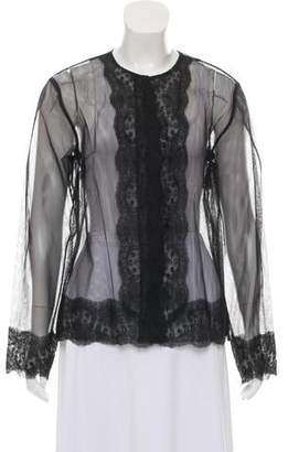 Christopher Kane Lace-Accented Mesh Cardigan w/ Tags
