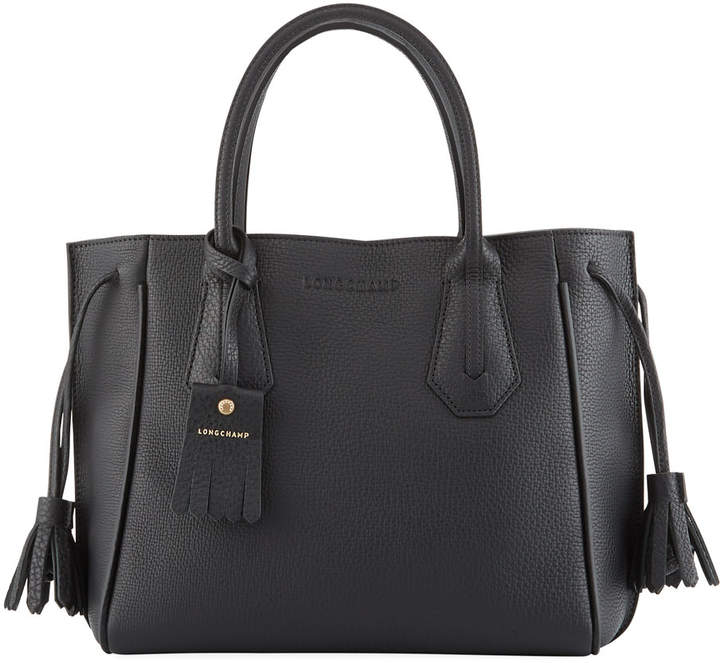 Longchamp Penelope Small Leather Tote Bag - BLACK - STYLE