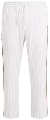 Gucci Side Stripe Striped Cotton Trousers - Mens - White Multi