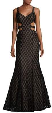 La Femme Printed V-Neck Mermaid Dress