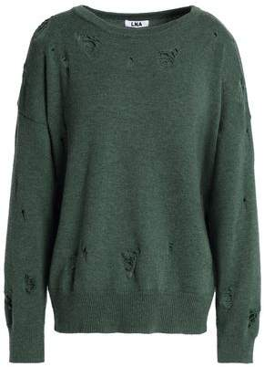 LnA Distressed Merino Wool And Cotton-Blend Sweater