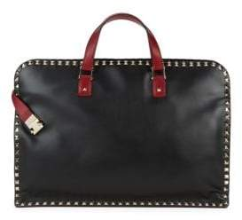 Valentino Zip Leather Briefcase