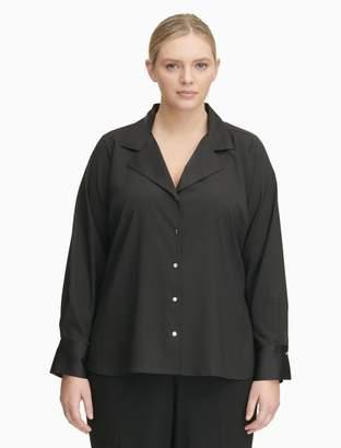 Calvin Klein plus size button down long sleeve top