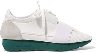 Balenciaga - Race Runner Leather, Mesh, Suede And Neoprene Sneakers - White $695 thestylecure.com