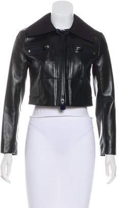 Calvin Klein Collection Crop Leather Jacket