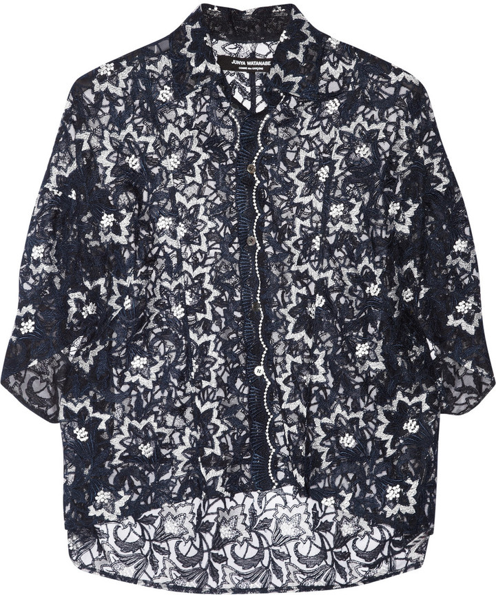 Junya Watanabe Embroidered tulle top