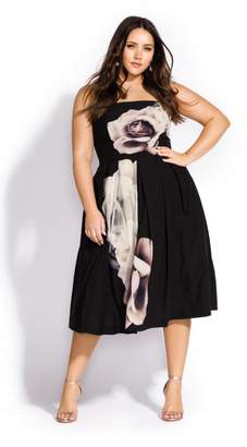 City Chic Citychic Floral Austin Dress - black