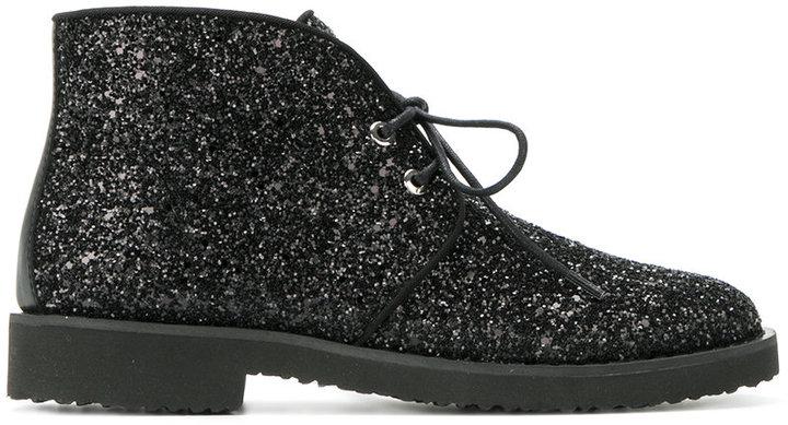 Giuseppe Zanotti Design Glitter lace-up desert boots