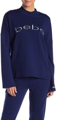 Bebe Fleece Drop Shoulder Crew Neck Sweater