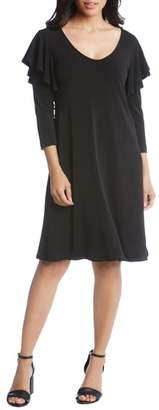 Karen Kane Ruffle Sleeve A-Line Dress