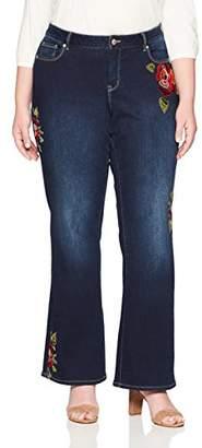 Denim Crush Women's Blushing Velvet Rose Bootcut Jean Plus Size