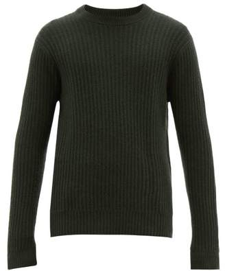 Allude Ribbed Crew Neck Cashmere Sweater - Mens - Dark Green