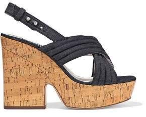 Alice + Olivia Charlize Quilted Denim Platform Slingback Sandals