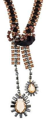 Lanvin Crystal & Ribbon Bolo Tie Necklace