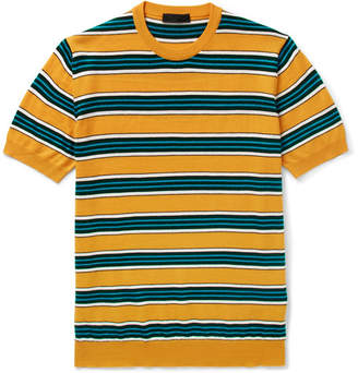 Prada Striped Virgin Wool And Silk-Blend T-Shirt