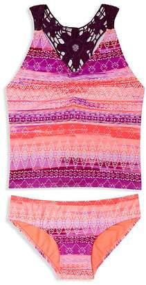 Gossip Girl Girls' Crochet Trimmed Print Tankini - Big Kid
