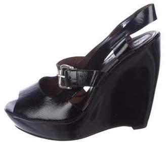 Marni Peep-Toe Patent Leather Wedges