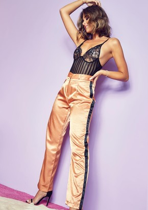 1144b9bca84f Missy Empire Missyempire Saskia Gold Satin Side Stripe High Waist Trousers