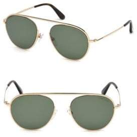 Tom Ford 55M Green& Gold Single Bridge Aviators