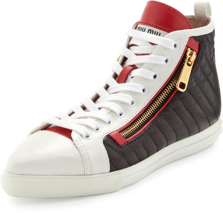 Miu Miu Quilted Side-Zip Sneaker, White/Black