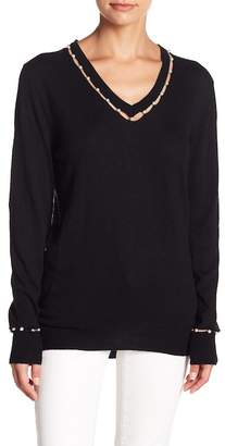 Fate Faux Pearl Embellished V-Neck Sweater