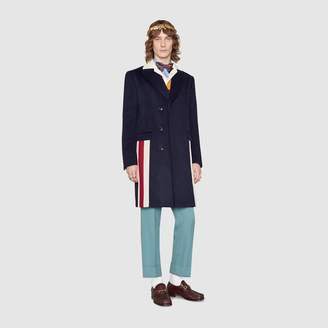 Gucci Eco cashmere coat with Web