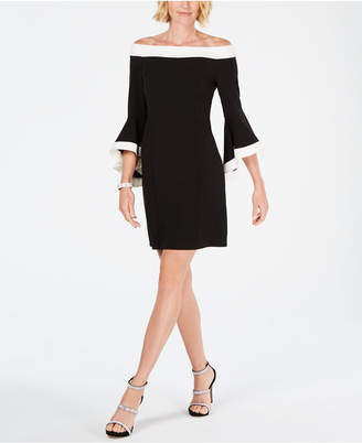 MSK Colorblocked Off-The-Shoulder Sheath Dress